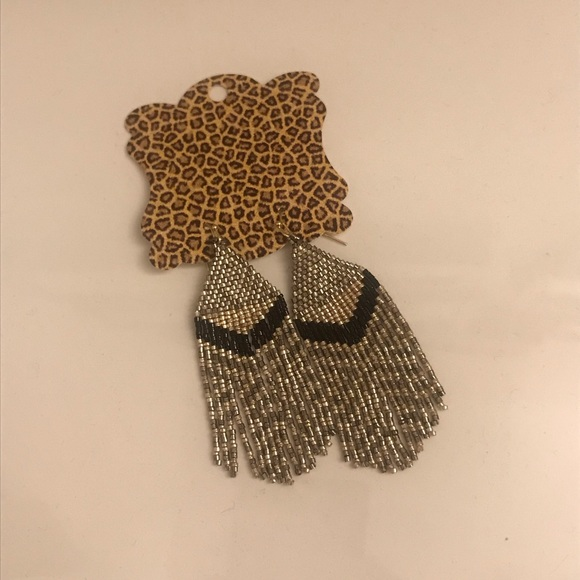 Jewelry - Gold, Silver and Black Beaded Fringe Earrings